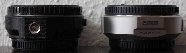 Links noname FT-MFT Adapter, rechts Olympus MMF-1