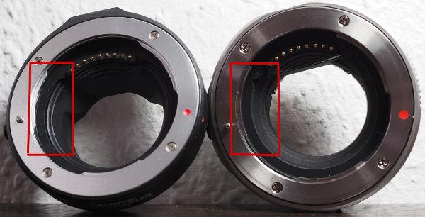 Die noname Adapter zeigt leichte Reflexionen (links), der MMF-1 ist durch die Beschichtung frei davon.