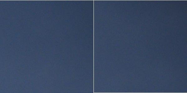100% Ausschnitt rechte obere Ecke. Links ohne, rechts mit Filter.